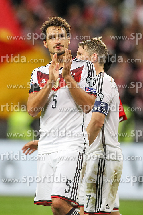 04.09.2015, Commerzbank Arena, Frankfurt, GER, UEFA Euro Qualifikation, Deutschland vs Polen, Gruppe D, im Bild Mats Hummels (Borussia Dortmund) // during the UEFA EURO 2016 qualifier Group D match between Germany and Poland at the Commerzbank Arena in Frankfurt, Germany on 2015/09/04. EXPA Pictures &copy; 2015, PhotoCredit: EXPA/ Eibner-Pressefoto/ Sch&uuml;ler<br /> <br /> *****ATTENTION - OUT of GER*****
