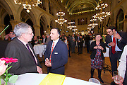 Vienna, Austria. Cocktail reception hosted by Mayor Michael Häupl at City Hall for international scientists and researchers living and working in Vienna.<br /> From l.: Alexander van der Bellen, Commissioner for Universities and Research; ?;<br /> Mag. Robert Kogler; Renata Schmidtkunz, TV journalist.