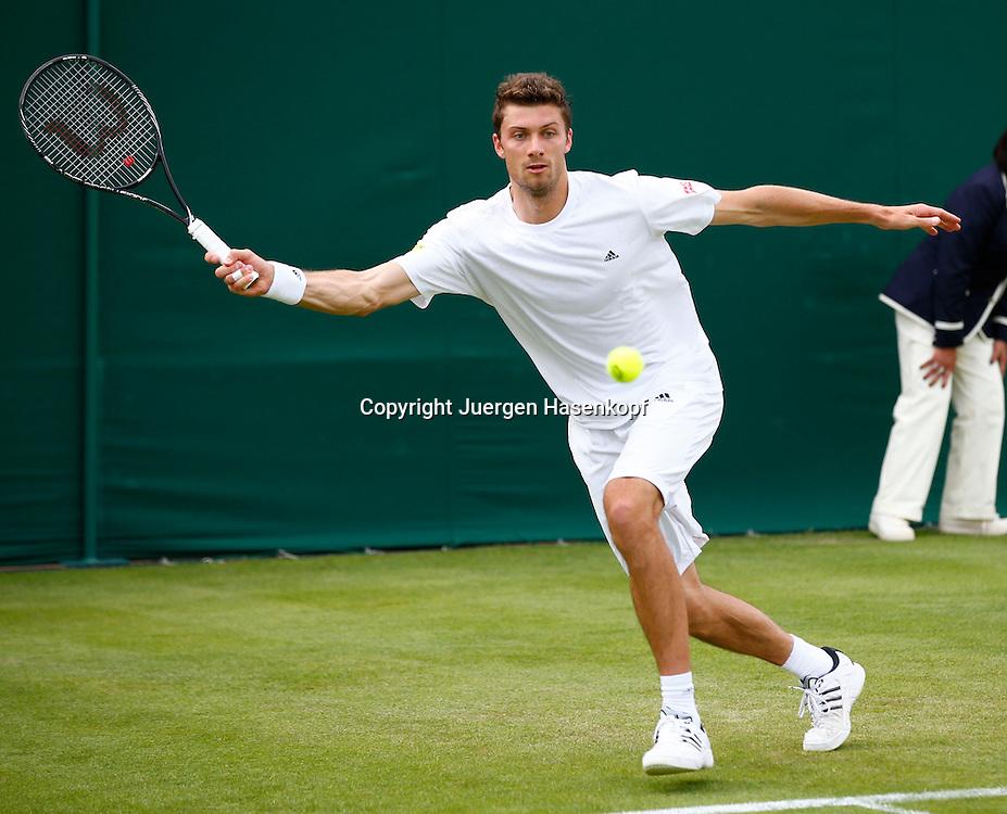Wimbledon Championships 2013, AELTC,London,<br /> ITF Grand Slam Tennis Tournament,<br /> Daniel Brands (GER),Aktion,Einzelbild,<br /> Ganzkoerper,Querformat,