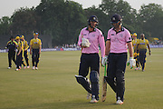 Middlesex all-rounder James Franklin & Toby Roland-Jones end the innings for middlesex during the NatWest T20 Blast South Group match between Middlesex County Cricket Club and Hampshire County Cricket Club at Uxbridge Cricket Ground, Uxbridge, United Kingdom on 27 May 2016. Photo by David Vokes.