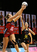 Tactix goal shoot Ellie Bird takes a pass under pressure from Magic goal keep Kate Llyod during the ANZ Premiership netball match - Magic v Tactix played at Claudelands Arena, Hamilton, New Zealand on 30 July 2018.<br /> <br /> Copyright photo: © Bruce Lim / www.photosport.nz