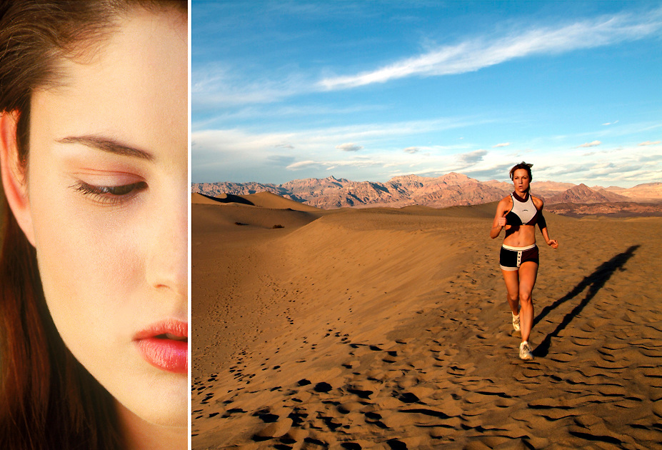 Female athlete running Dunes in Death Valley,CA. Beauty shot of young woman in Carlsbad, CA.