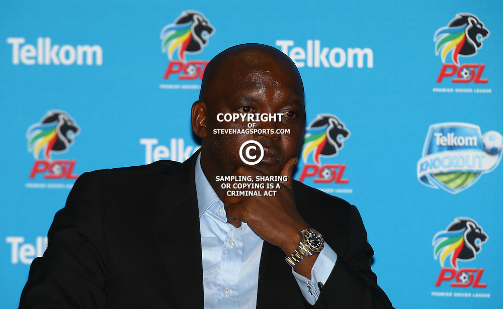 TUESDAY, 15 DECEMBER 2015   Mamelodi Sundowns coach, Pitso Mosimane during the Mamelodi Sundowns and Kaizer Chiefs joint press conference ahead of their TKO Final showdown. Attended by Mamelodi Sundowns coach, Pitso Mosimane, and Kaizer Chiefs coach, Steve Komphela. <br /> Date: 15 December 2015<br /> Venue: Moses Mabhida Stadium  (Photo by Steve Haag) Images for social media must have consent from Steve Haag