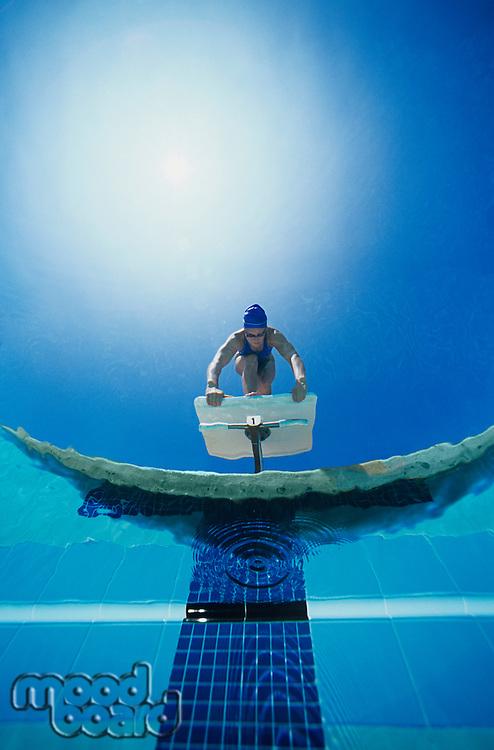 Diver Preparing to Dive