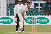 Ben Raine bowling during the Specsavers County Champ Div 2 match between Leicestershire County Cricket Club and Durham County Cricket Club at the Fischer County Ground, Grace Road, Leicester, United Kingdom on 7 July 2019.
