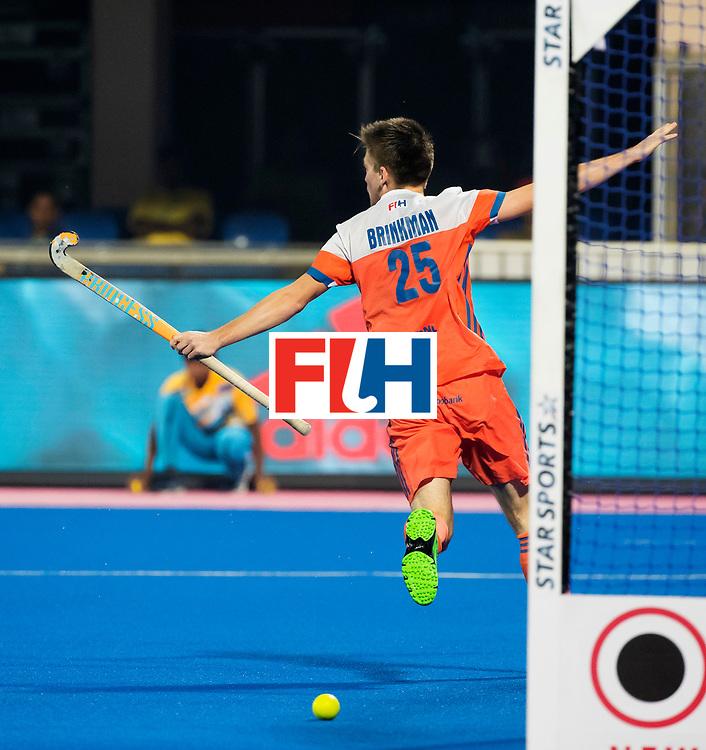 BHUBANESWAR - Thierry Brinkman (Ned) heeft de stand op 1-0 gebracht   tijdens de Hockey World League Final wedstrijd Nederland-Argentinie (3-3). . COPYRIGHT  KOEN SUYK