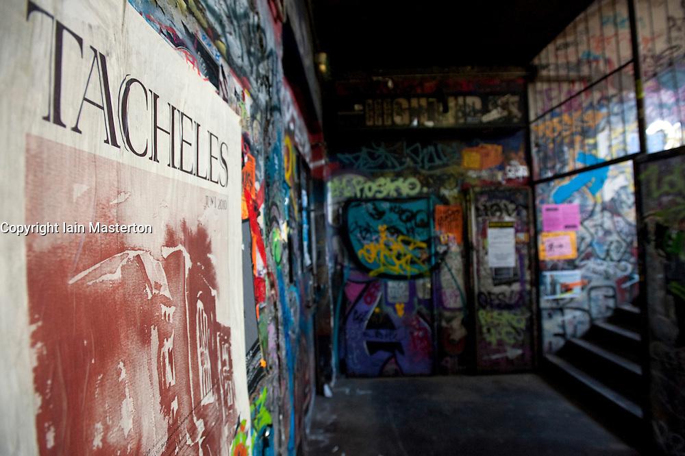 Interior of bohemian alternative Tacheles Kunsthaus or art workshop on Oranienburger Strasse in Berlin Germany