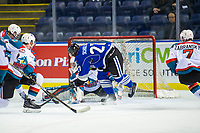 KELOWNA, CANADA - AUGUST 31: James Porter #1 of the Kelowna Rockets makes a save on first period shot by Phillip Schultz #27 of the Victoria Royals  on August 31, 2018 at Prospera Place in Kelowna, British Columbia, Canada.  (Photo by Marissa Baecker/Shoot the Breeze)  *** Local Caption ***