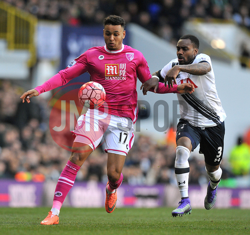 Joshua King of Bournemouth challenges for the ball with Danny Rose of Tottenham Hotspur - Mandatory by-line: Paul Knight/JMP - Mobile: 07966 386802 - 20/03/2016 -  FOOTBALL - White Hart Lane - London, England -  Tottenham Hotspur v AFC Bournemouth - Barclays Premier League