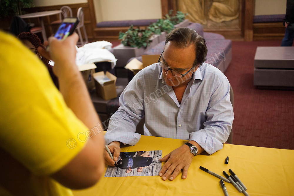 Jim Belushi signs autographs after the Jim Belushi and the Board of Comedy performance at Plachta Auditorium in Wariner Hall on Friday evening, Jan. 17, 2014.