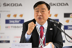 Lee Hee-Beom, POCOG President during press conference of The PyeongChang Organizing Committee for the 2018 Olympic & Paralympic Winter Games (POCOG) at the 2017 IIHF Men's World Championship, on May 15, 2017 in AccorHotels Arena in Paris, France. Photo by Vid Ponikvar / Sportida
