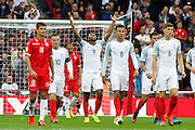 England Forward Daniel Sturridge celebrates his goal during the FIFA World Cup Qualifier match between England and Malta at Wembley Stadium, London, England on 8 October 2016. Photo by Andy Walter.