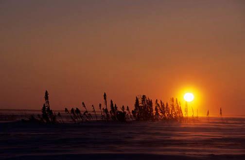 Wapusk National Park, Sunset over tundra. Winter. Northern Manitoba. Canada.