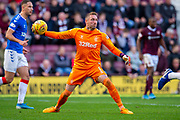 Allan McGregor (#1) of Rangers FC throws the ball out during the Ladbrokes Scottish Premiership match between Heart of Midlothian and Rangers FC at Tynecastle Park, Edinburgh, Scotland on 20 October 2019.