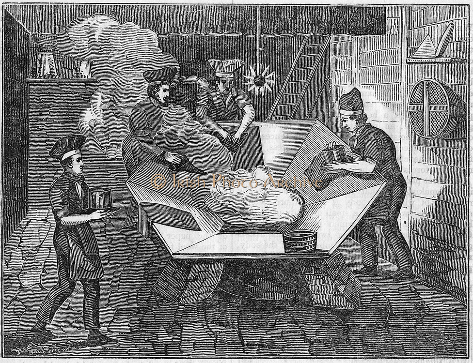 Beaver hats; 'felting' the body of the hats in the 'kettle'. Mercury was used during the manufacture and many hatters suffered from the uncontrollable shaking typical of mercury poisoning. From 'The Saturday Magazine', London, 10 January 1835. Woodcut.