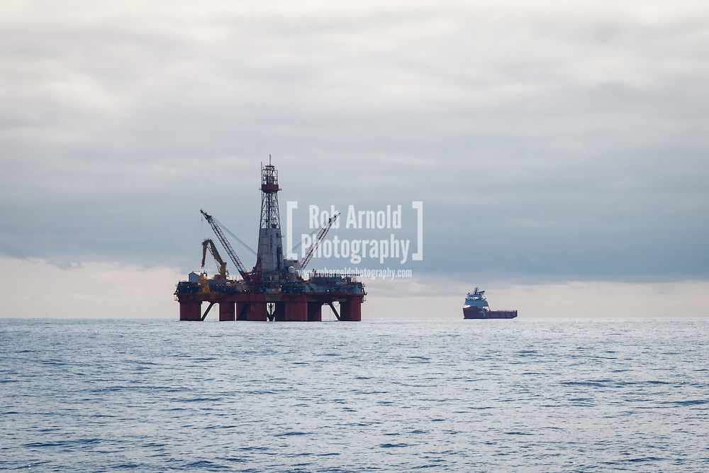 26/05/2013, Norwegian Sea, Norway. The drilling rig 'Transocean Leader' drilling a new oil well in the Norwegian Sea. Photo by Rob Arnold