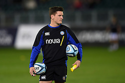 Freddie Burns of Bath Rugby looks on during the pre-match warm-up - Mandatory byline: Patrick Khachfe/JMP - 07966 386802 - 05/10/2018 - RUGBY UNION - The Recreation Ground - London, England - Bath Rugby v Exeter Chiefs - Gallagher Premiership Rugby