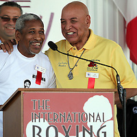 Boxer Hilario Zapata (Left) and Referee Joe Cortez speak to fans during the 23rd Annual induction weekend opening ceremony at the International Boxing Hall of Fame on Thursday, June 7, 2012 in Canastota, NY. (AP Photo/Alex Menendez)