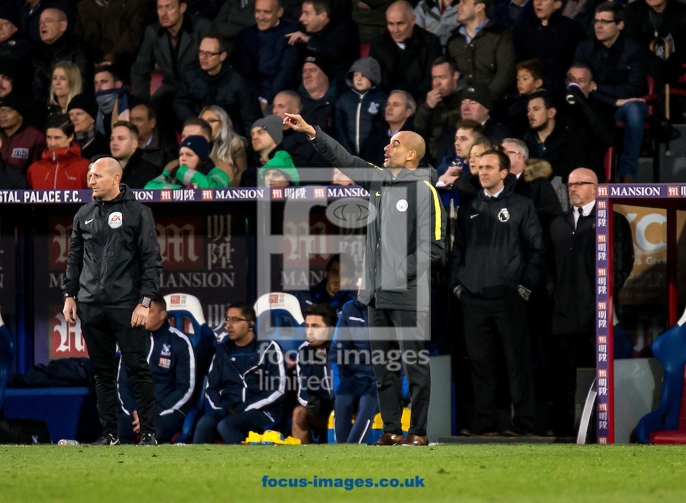 Pep Guardiola manager of Manchester City during the Premier League match at Selhurst Park, London<br /> Picture by Liam McAvoy/Focus Images Ltd 07413 543156<br /> 19/11/2016