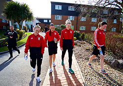 SOUTHAMPTON, ENGLAND - Friday, April 6, 2018: Wales' Jessica Fishlock, Natasha Harding, Rhiannon Roberts and Helen Ward during a pre-match walk at the Marriott Meon Valley Hotel & Country Club ahead of the FIFA Women's World Cup 2019 Qualifying Round Group 1 match between England and Wales. (Pic by David Rawcliffe/Propaganda)