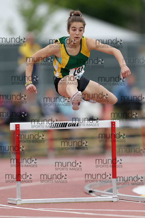 Bella Efremenko of Cameron Heights CI - Kitchener competes in the junior girls 300m hurdle heats at the 2013 OFSAA Track and Field Championship in Oshawa Ontario, Saturday,  June 8, 2013.<br /> Mundo Sport Images/ Geoff Robins
