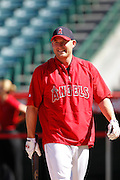 ANAHEIM, CA - JULY 28:  Mark Trumbo #44 of the Los Angeles Angels of Anaheim laughs during batting practice before the game against the Tampa Bay Rays on Saturday, July 28, 2012 at Angel Stadium in Anaheim, California. The Rays won the game in a 3-0 shutout. (Photo by Paul Spinelli/MLB Photos via Getty Images) *** Local Caption *** Mark Trumbo