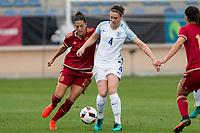 Spain's Jennifer Hermoso and England's Jade Moore during the frendly match between woman teams of  Spain and England at Fernando Escartin Stadium in Guadalajara, Spain. October 25, 2016. (ALTERPHOTOS/Rodrigo Jimenez)