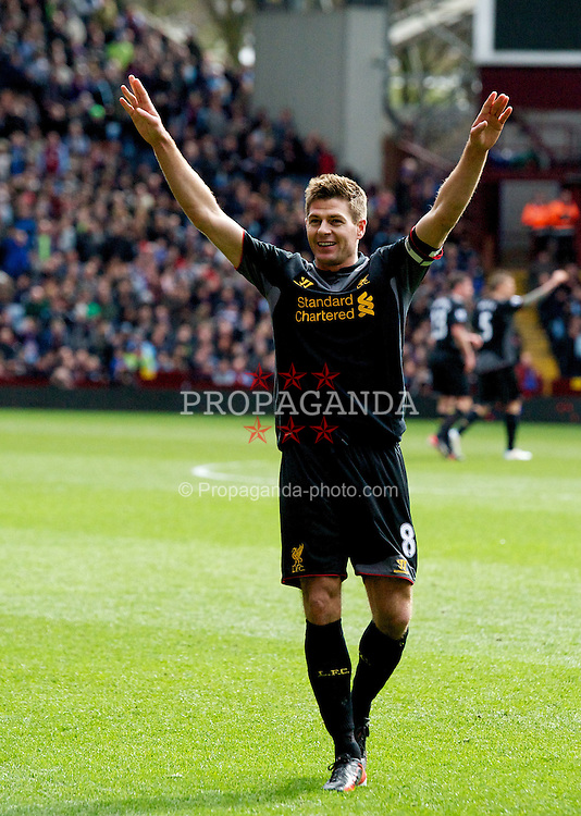 BIRMINGHAM, ENGLAND - Easter Sunday, March 31, 2013: Liverpool's captain Steven Gerrard celebrates scoring the second goal against Aston Villa during the Premiership match at Villa Park. (Pic by David Rawcliffe/Propaganda)