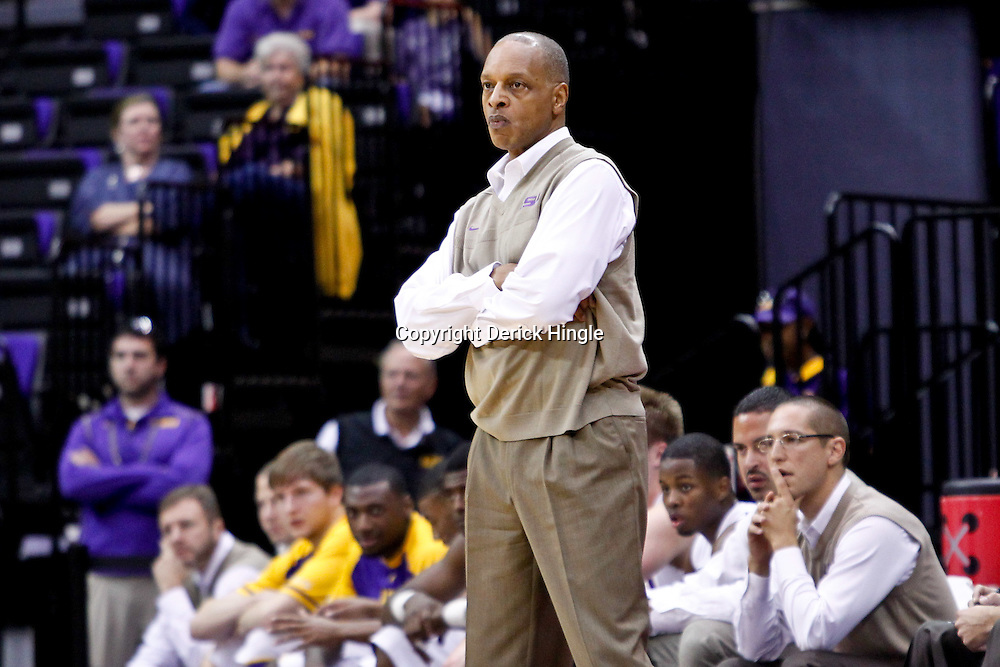 November 23, 2011; Baton Rouge, LA; LSU Tigers head coach Trent Johnson against the South Alabama Jaguars during the first half of a game at the Pete Maravich Assembly Center.  Mandatory Credit: Derick E. Hingle-US PRESSWIRE