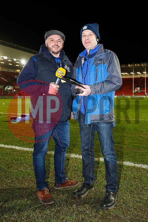 Sam FM presenter Ian Downs and stadium announcer Richard 'Slick' Pitt - Mandatory byline: Rogan Thomson/JMP - 22/01/2016 - RUGBY UNION - Ashton Gate Stadium - Bristol, England - Bristol Rugby v Ulster A - British & Irish Cup.