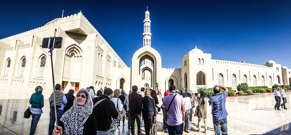 An iPhone6 panoramic image of a selfie at The Great Mosque of Sultan Qabus, in the quarter of Bawshar. Images from the MSC Musica cruise to the Persian Gulf, visiting Abu Dhabi, Khor al Fakkan, Khasab, Muscat, and Dubai, traveling from 13/12/2015 to 20/12/2015.
