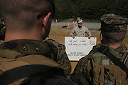Marine Corps Base Quantico..Arabic translation sign for roadblock..The Basic School at Camp Barrett  is where all incoming Marine officers are trained. Seven companies of about 300 officers come through every year..Bravo company, shown here, undergoes training before sent out to lead Marine units.