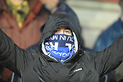 Bristol Rovers fan wrapped up well during the Sky Bet League 2 match between Exeter City and Bristol Rovers at St James' Park, Exeter, England on 28 November 2015. Photo by Graham Hunt.
