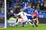 Leicester City defender Harry Maguire (15) puts pressure on Chelsea forward Alvaro Morata (9) with Leicester City goalkeeper Kasper Schmeichel (1) covering the near post during the The FA Cup match between Leicester City and Chelsea at the King Power Stadium, Leicester, England on 18 March 2018. Picture by Jon Hobley.