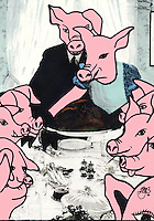 Comic illustration of a family of pigs sitting around a table that is groaning with food and a turkey on Thanksgiving.