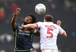 Ellis Harrison of Bristol Rovers challenges Scott Wootton of Milton Keynes Dons to a header - Mandatory by-line: Robbie Stephenson/JMP - 03/03/2018 - FOOTBALL - Stadium MK - Milton Keynes, England - Milton Keynes Dons v Bristol Rovers - Sky Bet League One