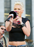 NEW YORK - JULY 19: Recording artist Pink appears on the Good Morning America Summer Concert Series on July 19, 2002, in New York City. (Photo by Matthew Peyton)
