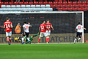 Goal - Will Buckley (11) of Bolton Wanderers scores a goal to give a 0-1 lead to the away team during the EFL Sky Bet Championship match between Bristol City and Bolton Wanderers at Ashton Gate, Bristol, England on 12 January 2019.