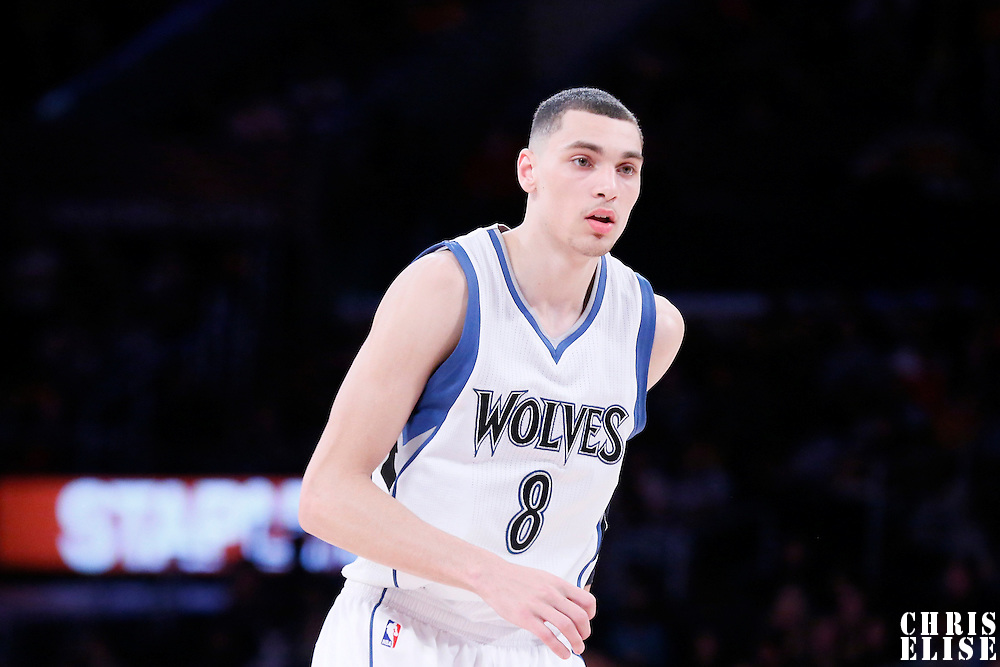 10 April 2014: Minnesota Timberwolves guard Zach LaVine (8) is seen during the Los Angeles Lakers 106-98 victory over the Minnesota Timberwolves, at the Staples Center, Los Angeles, California, USA.