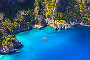 Small sea bay with green forest and deep blue water