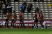 Clayton Donaldson scores from the penalty spot and runs off to celebrate  during the EFL Sky Bet League 2 match between Bradford City and Cheltenham Town at the Utilita Energy Stadium, Bradford, England on 28 January 2020.
