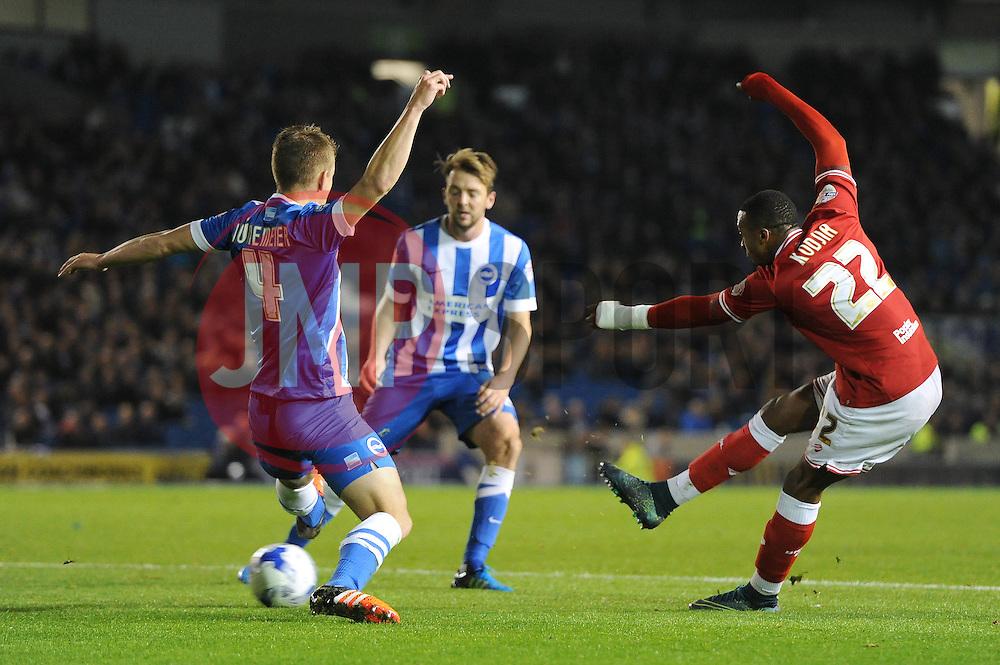 Jonathan Kodjia of Bristol City takes a shot at goal - Mandatory byline: Dougie Allward/JMP - 07966 386802 - 20/10/2015 - FOOTBALL - American Express Community Stadium - Brighton, England - Brighton v Bristol City - Sky Bet Championship