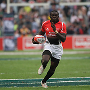 Kenya's Oscar Ouma stuns Manu Samoa and fans with a first quarter try.  Photo by Barry Markowitz 3/23/12