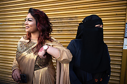 © Licensed to London News Pictures. 15/06/2018. Manchester, UK. SHABNAM AHMED and her mother FARHANA AHMED , from Longsight . People celebrate Eid-ul-Fitr , the end of a month of fasting during Ramadan , in Rusholme in Manchester . Photo credit: Joel Goodman/LNP