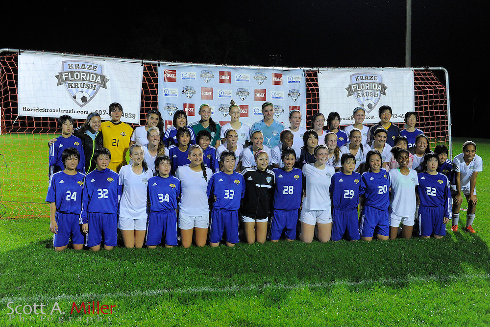 JFA Academy Fukushima vs Florida Krush All-Star team during an international friendly soccer match at Central Winds Park on Dec. 29, 2014 in Winter Springs, Florida. <br /> <br /> &copy;2013 Scott A. Miller