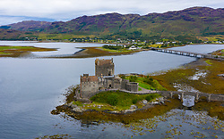 Aerial view of Eilean Donan Castle on Loch Duich , Kyle of Lochalsh, Scotland, UK