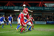 Accrington Stanley defender Ben Richards-Everton (5)  nods the ball down for Accrington Stanley forward Billy Kee (29) to score during the The FA Cup 3rd round match between Accrington Stanley and Ipswich Town at the Fraser Eagle Stadium, Accrington, England on 5 January 2019.