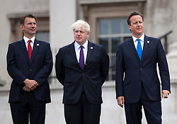 © Licensed to London News Pictures. 24/08/2012. LONDON, UK. Jeremy Hunt, the Secretary of State for Culture, Olympics, Media and Sport (L), Boris Johnson, the Mayor of London (C) and David Cameron, the British Prime Minister (R) are seen at the lighting of the Paralympic Cauldron in Trafalgar Square in London  today (24/08/12)a. Photo credit: Matt Cetti-Roberts/LNP