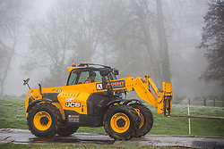 Denham, UK. 6 February, 2020. A JCB 531-70 forklift truck is driven across a temporary track towards Denham Ford by an engineer working on behalf of HS2. Works planned for the HS2 high-speed rail link in the immediate vicinity include the construction of a Bailey bridge across the ford and a compound in Denham Country Park requiring the felling of ancient trees. Some of the site lies within a wetland nature reserve forming part of a Site of Metropolitan Importance for Nature Conservation (SMI).