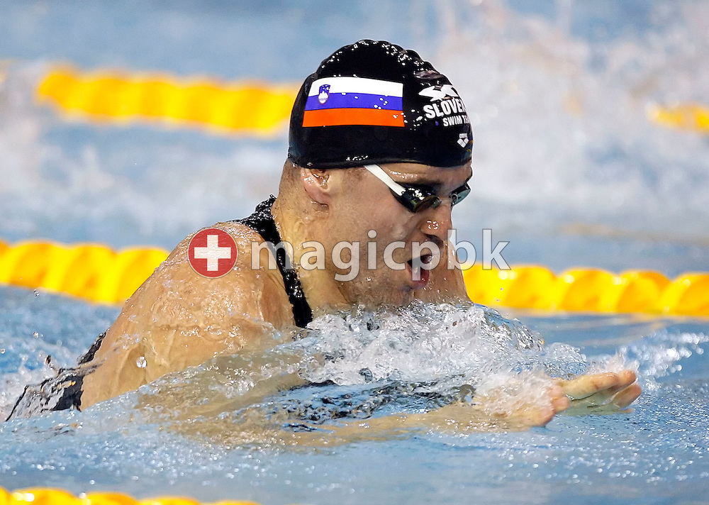 Peter MANKOC of Slovenia competes on the breaststroke leg in the men's 100m individual medley (IM) heats on day three at the European Short-Course Swimming Championships at the Maekelaenrinne Swimming Centre in Helsinki, Finland, Saturday December 9, 2006. (Photo by Patrick B. Kraemer / MAGICPBK)